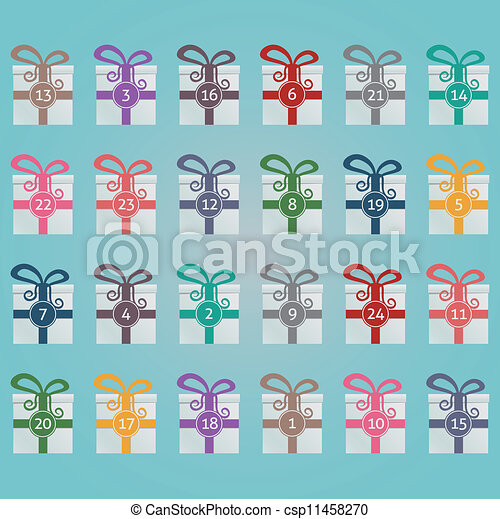 colorido, calendario, advenimiento, cajas, regalo - csp11458270