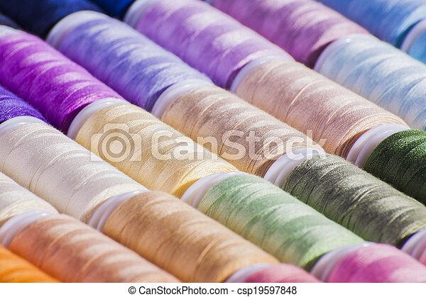 colorido, carretéis, algodão - csp19597848