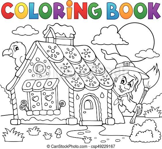 Colorido, casa, tema, 2, pan de jengibre, libro. Colorido, eps10 ...