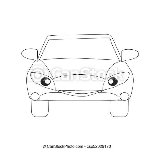 Colorido, coche, aislado, libro, carácter, caricatura.