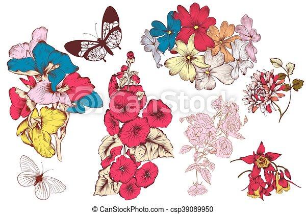 Colección de vectores de manos coloridas flores dibujadas en ...