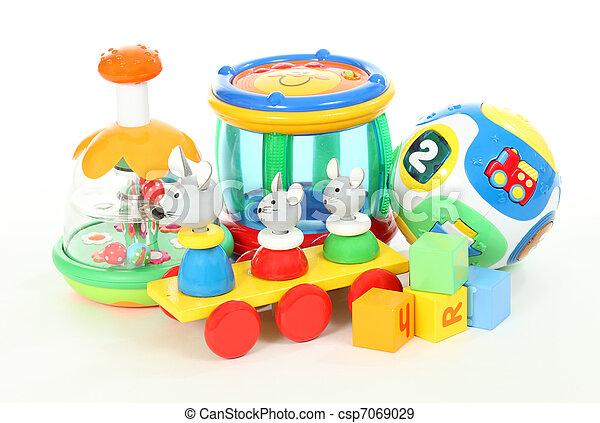 colorido, encima, aislado, plano de fondo, juguetes, blanco - csp7069029