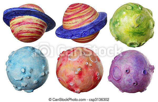 Fantasía espacial seis planetas hechos a mano - csp3136302