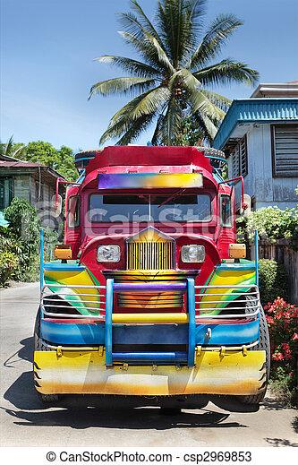 colorido, filipino, jeepney - csp2969853