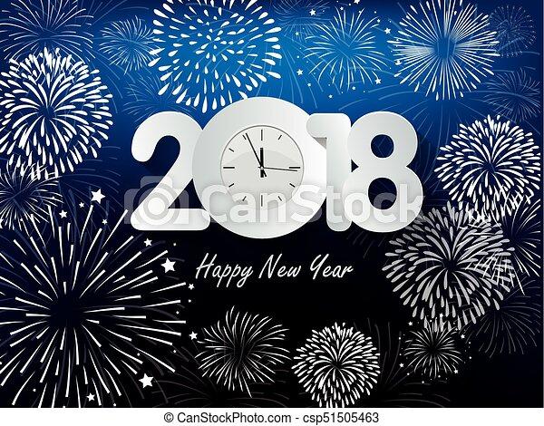 Feliz año nuevo 2018 con antecedentes coloridos de Realistic Fireworks - csp51505463