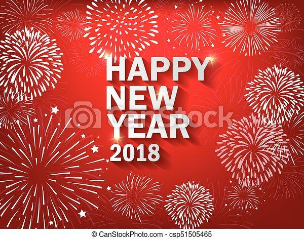 Feliz año nuevo 2018 con antecedentes coloridos de Realistic Fireworks - csp51505465
