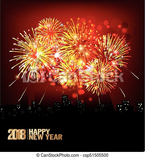 Feliz año nuevo 2018 con antecedentes coloridos de Realistic Fireworks - csp51505500