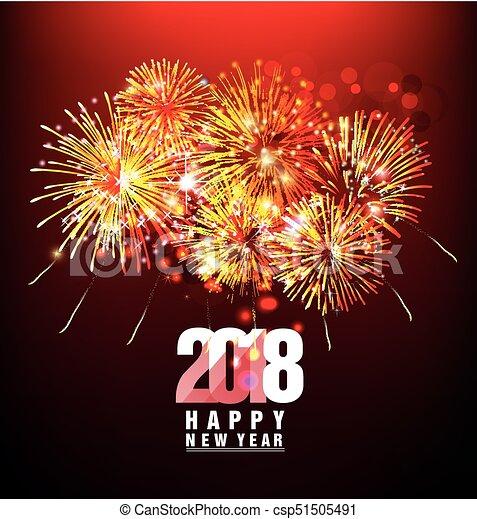 Feliz año nuevo 2018 con antecedentes coloridos de Realistic Fireworks - csp51505491