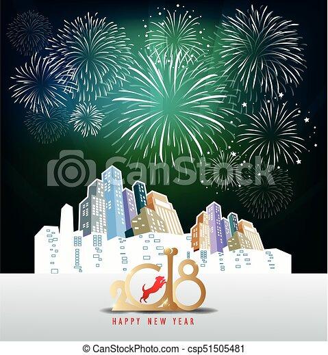 Feliz año nuevo 2018 con antecedentes coloridos de Realistic Fireworks - csp51505481