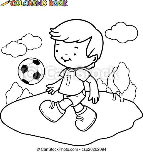 Colorido, futbol, libro, niño. Page., niño, colorido, contorno ...