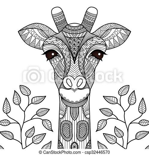 Página de coloración de jirafa - csp32446570