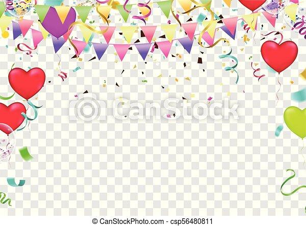 Planta de pancarta de globos, fondo de celebración abstracto y colorido con confeti. - csp56480811