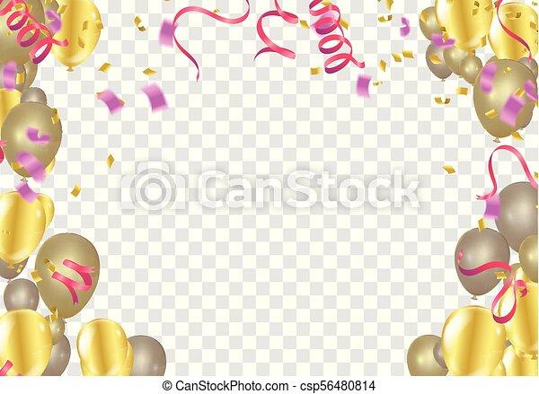 Planta de pancarta de globos, fondo de celebración abstracto y colorido con confeti. - csp56480814