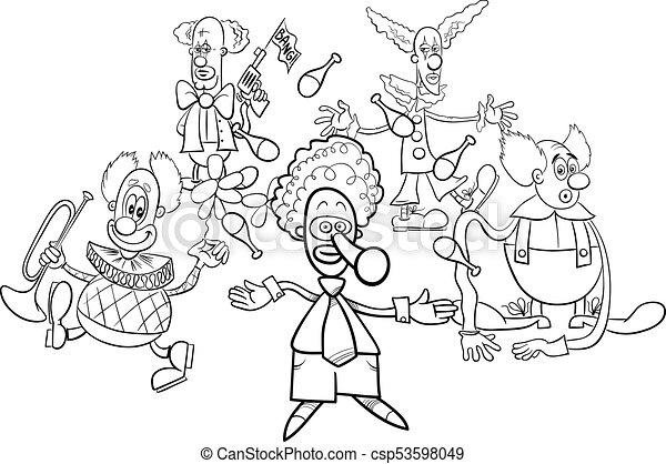 Colorido, grupo, libro, payasos, caracteres, caricatura. Colorido ...