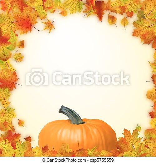 Colorido, hojas, eps, pumpkin., otoño, 8. Plantilla, colorido, hojas ...
