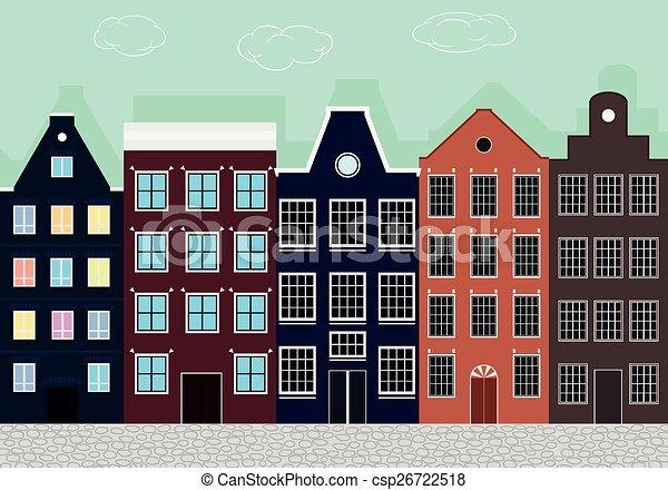 Casas europeas coloridas originales. - csp26722518