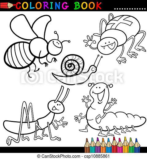 Colorido, insectos, bichos, página, libro, o. Divertido, colorido ...