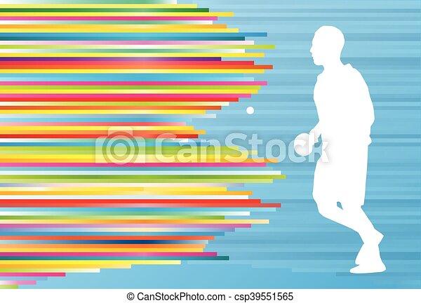 Jugador de ping pong vector de tracción abstracta de fondo con líneas coloridas - csp39551565