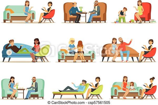 Gente hablando con psicólogos. Pacientes en una recepción en los psicoterapeutas. Terapia psicológica, ilustraciones coloridas - csp57561505