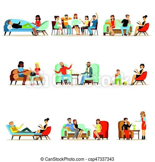 Pacientes en una recepción en los psicoterapeutas. Gente hablando con psicólogos. Terapia psicológica, ilustraciones coloridas - csp47337343