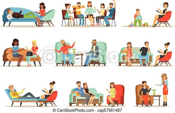 Pacientes en una recepción en los psicoterapeutas. Gente hablando con psicólogos. Terapia psicológica, ilustraciones coloridas - csp57561487