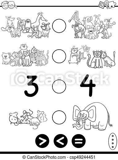Una página de coloración de dibujos animados más grande o igual - csp49244451