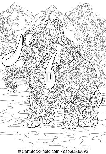 Página de color de mamut - csp60536693