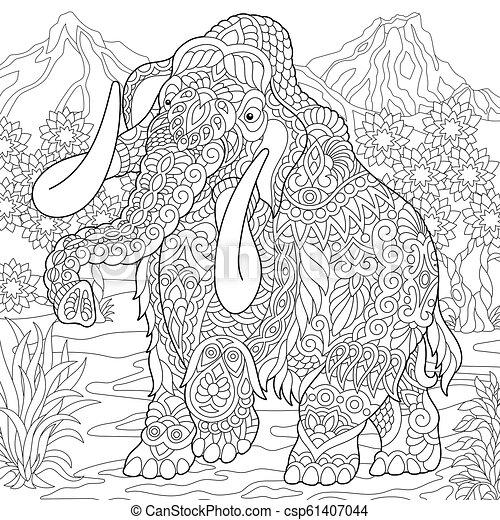 Página de color de mamut - csp61407044