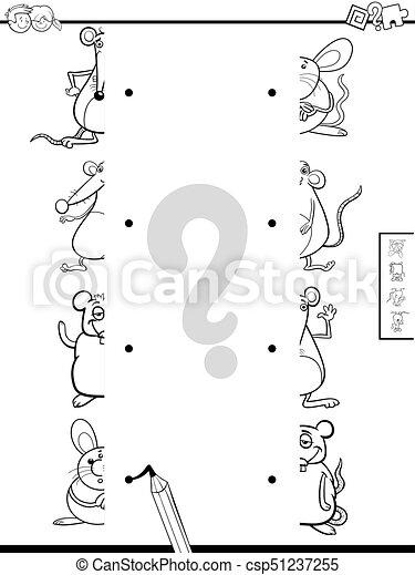 La mitad de los libros de color de ratones - csp51237255