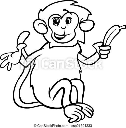 Colorido, mono, plátano, página. Lindo, colorido, mono, ilustración ...