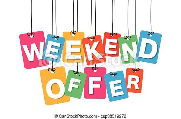 Vector colorido cartón colgado. Etiquetas, oferta de fin de semana - csp38519272