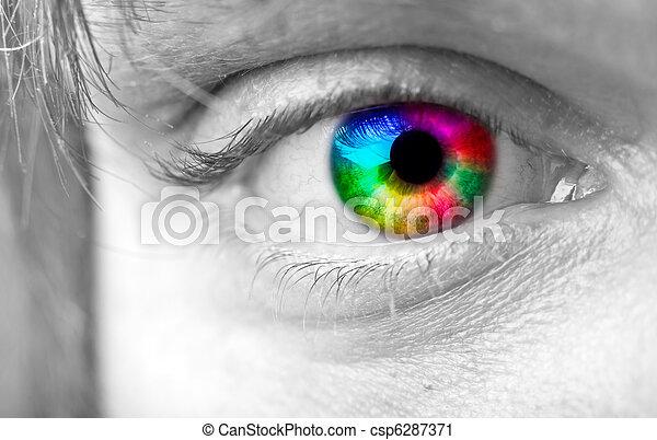 colorido, ojo, hombre - csp6287371