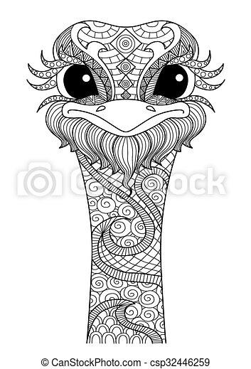 Página de color avestruz - csp32446259