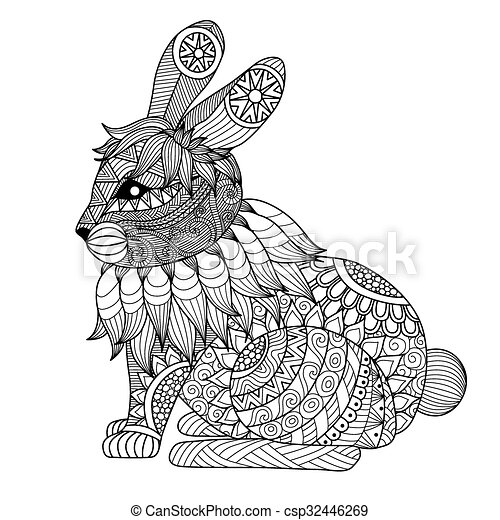 Página de color de conejo - csp32446269