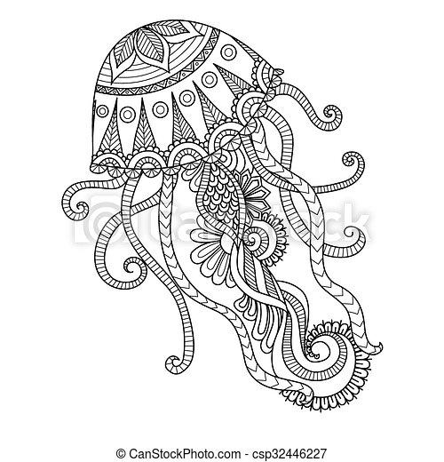 Página De Color De Medusas Diseño De Arte De La Línea De
