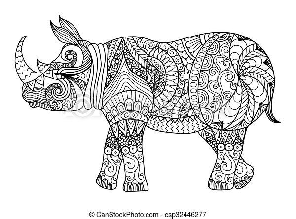 Página de color de rinoceronte - csp32446277