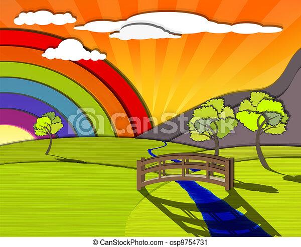 Un paisaje colorido - csp9754731