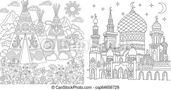 Paginas De Color Con Paisajes Y Arquitectura Paginas De Colorear