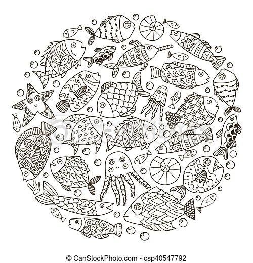 Patrón en círculo con peces de fantasía para el libro de colorear - csp40547792