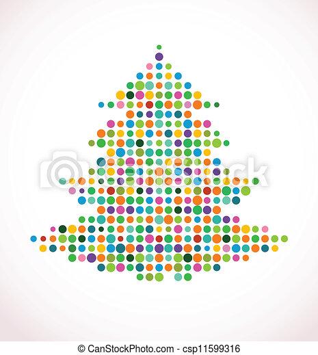 Árbol de Navidad con un patrón de puntos abstracto - csp11599316
