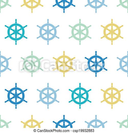 Nave náutica rueda un colorido fondo sin costura - csp19932883