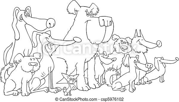 Perros sentados para colorear - csp5976102