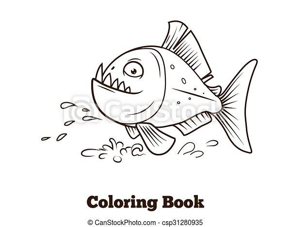 Colorido, pez, piraña, caricatura, vector, libro. Colorido, pez ...