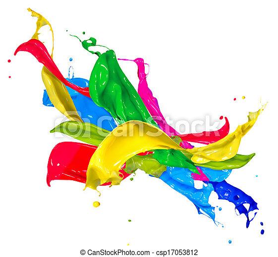 Pinturas coloridas aisladas en blanco. Salpicadura abstracta - csp17053812