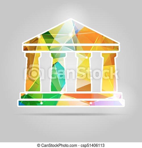 icono del banco triangular y triangular - csp51406113