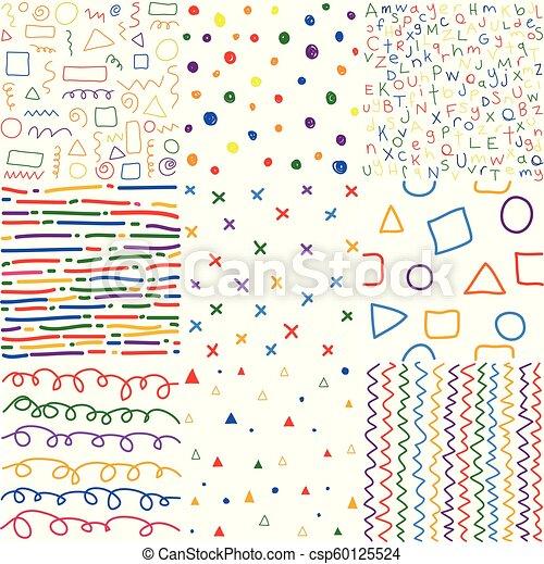 colorido, seamless, mano, patrones, dibujado, niños - csp60125524
