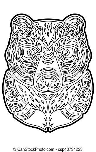 Colorido, tótem, tiki, mask., oso, polynesian, página. Page ...
