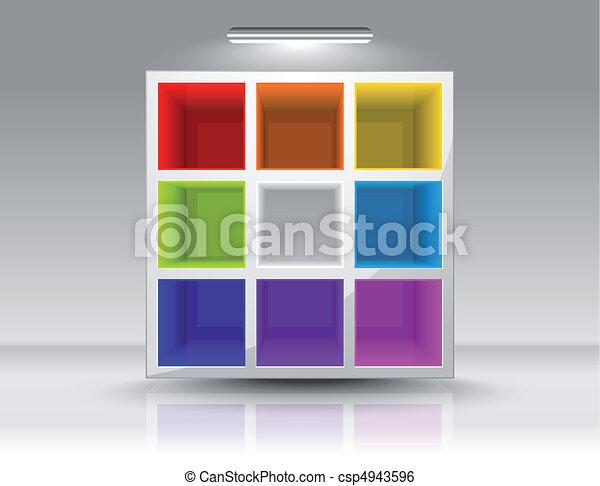 colorido, vazio, prateleiras - csp4943596