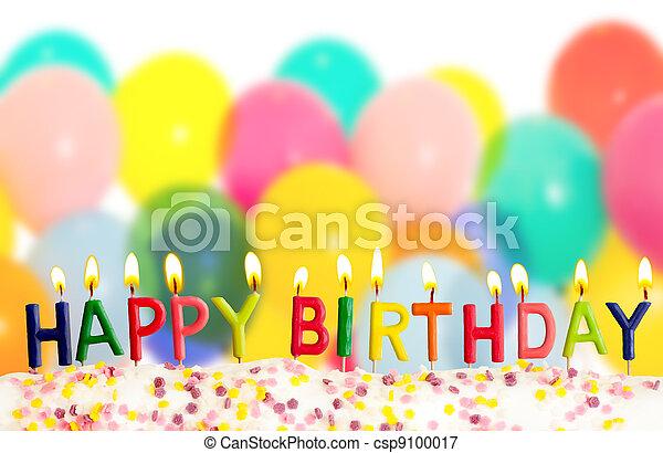colorido, velas, lit, cumpleaños, plano de fondo, globos, feliz - csp9100017