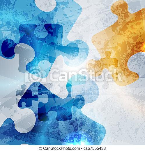 Formación corporativa. Abstracción de rompecabezas, diseño de vector colorido - csp7555433